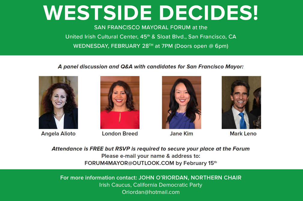 San Francisco Mayoral Forum United Irish Cultural Center